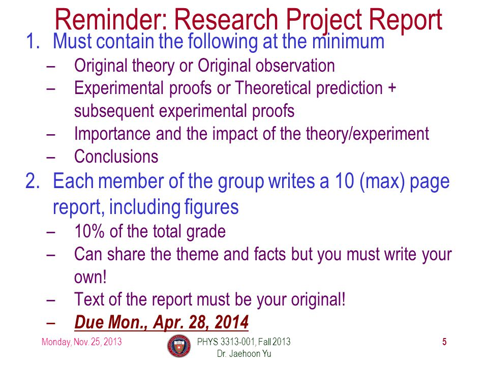 Reminder: Research Project Report