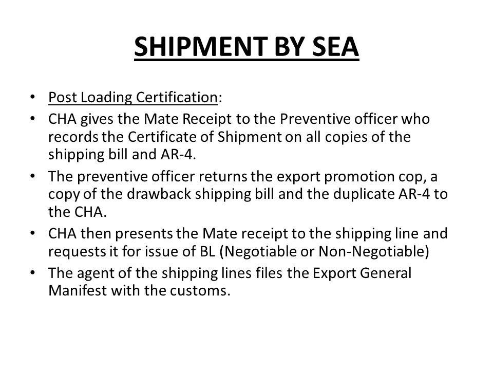 mate receipt in export