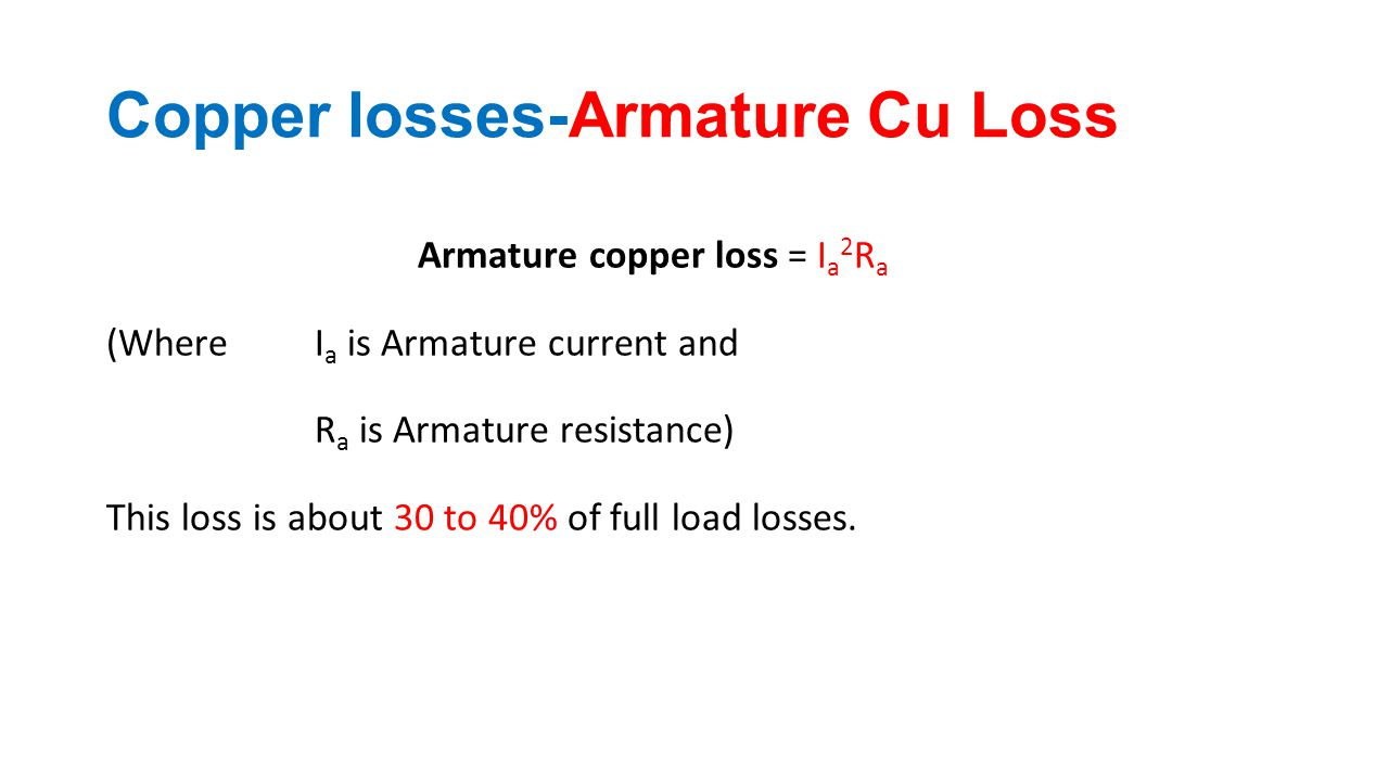 Copper losses-Armature Cu Loss