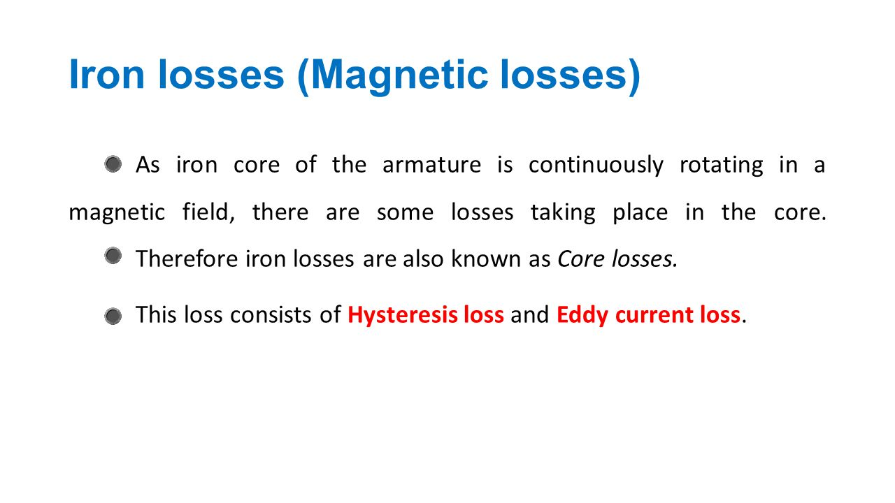 Iron losses (Magnetic losses)