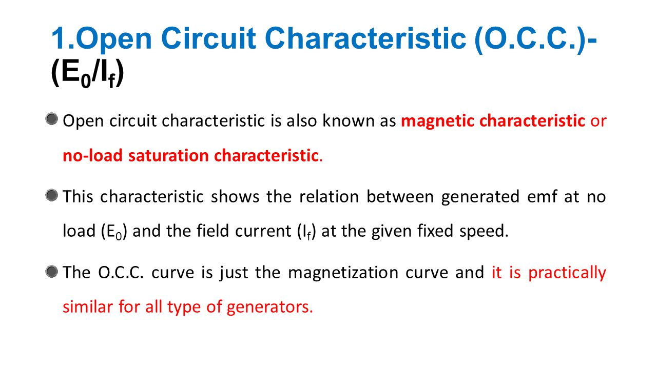 Dc Generator Chapter Ppt Video Online Download Fundamentals Of Electricity Types Circuits Open Circuit Characteristic Occ E0 If