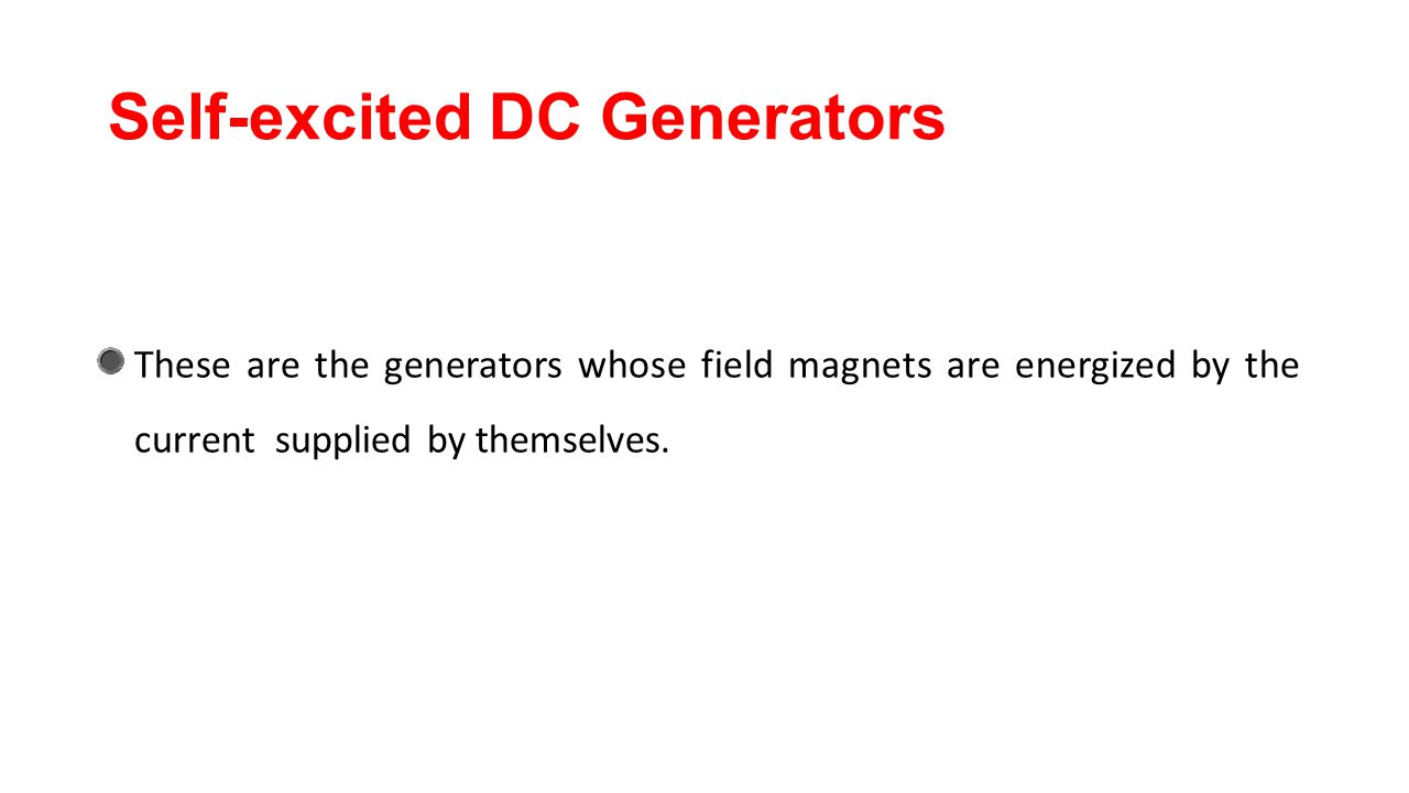 Self-excited DC Generators