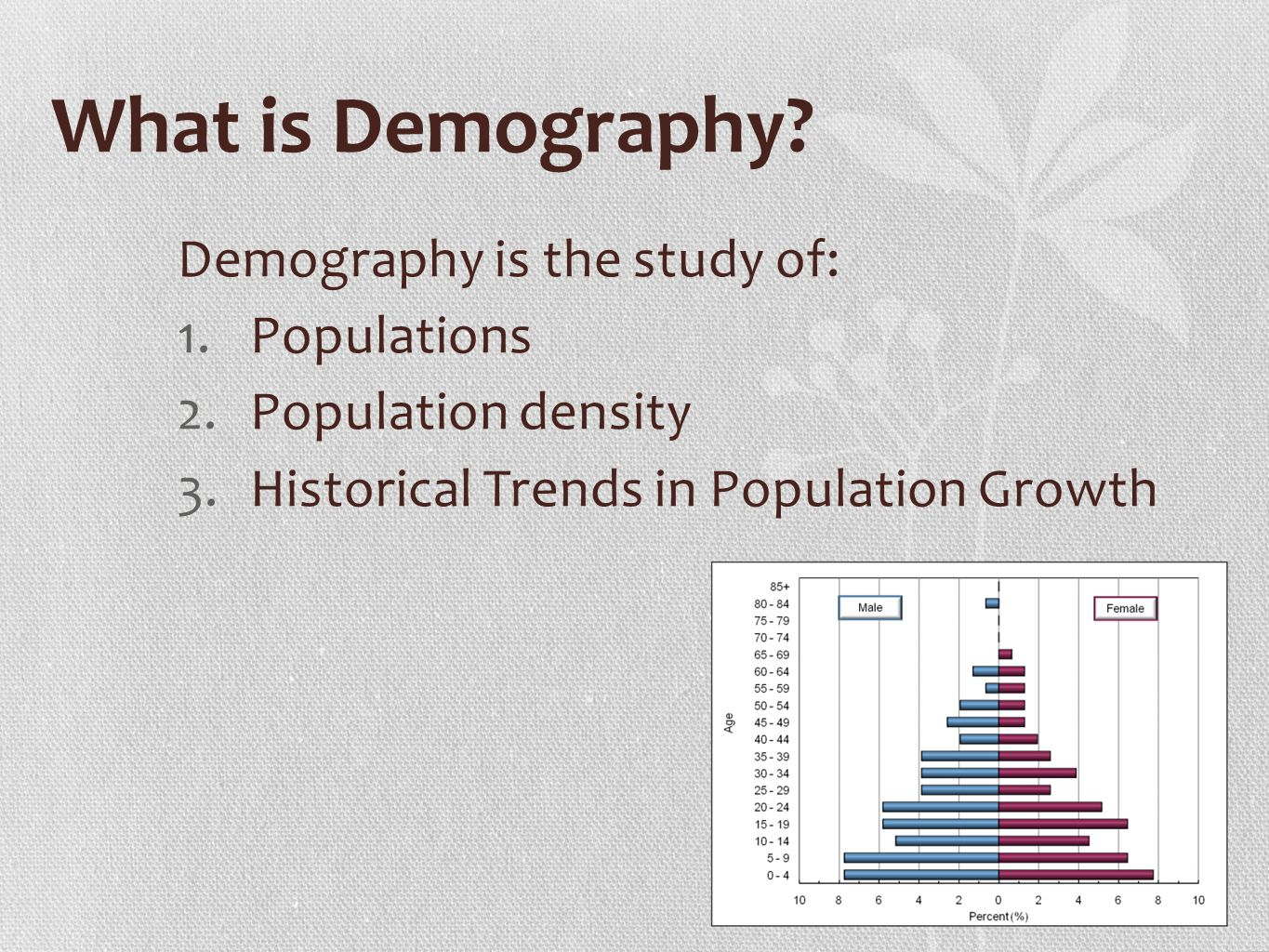 What is demography 62