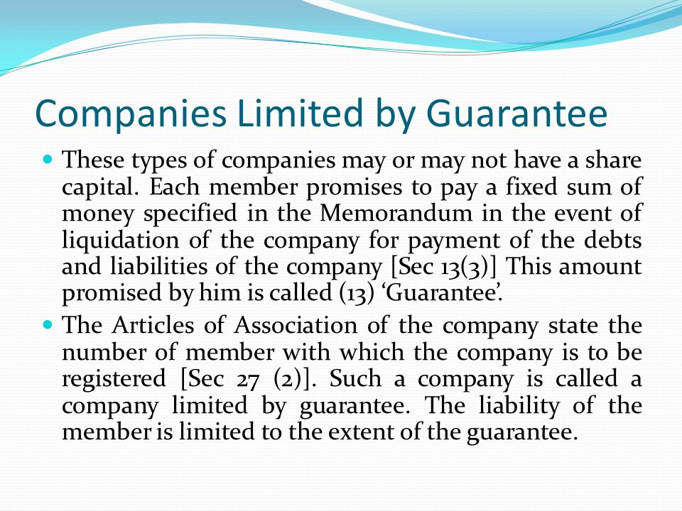 Liquidating a company limited by guarantee definition
