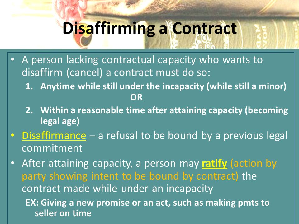 Disaffirming a Contract