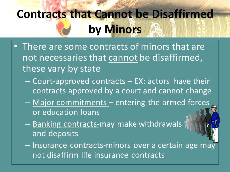 Contracts that Cannot be Disaffirmed by Minors
