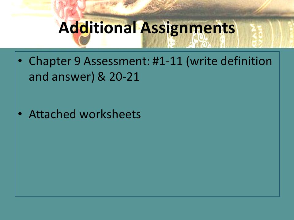Additional Assignments