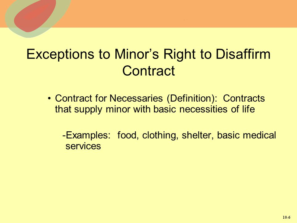 Exceptions to Minor's Right to Disaffirm Contract