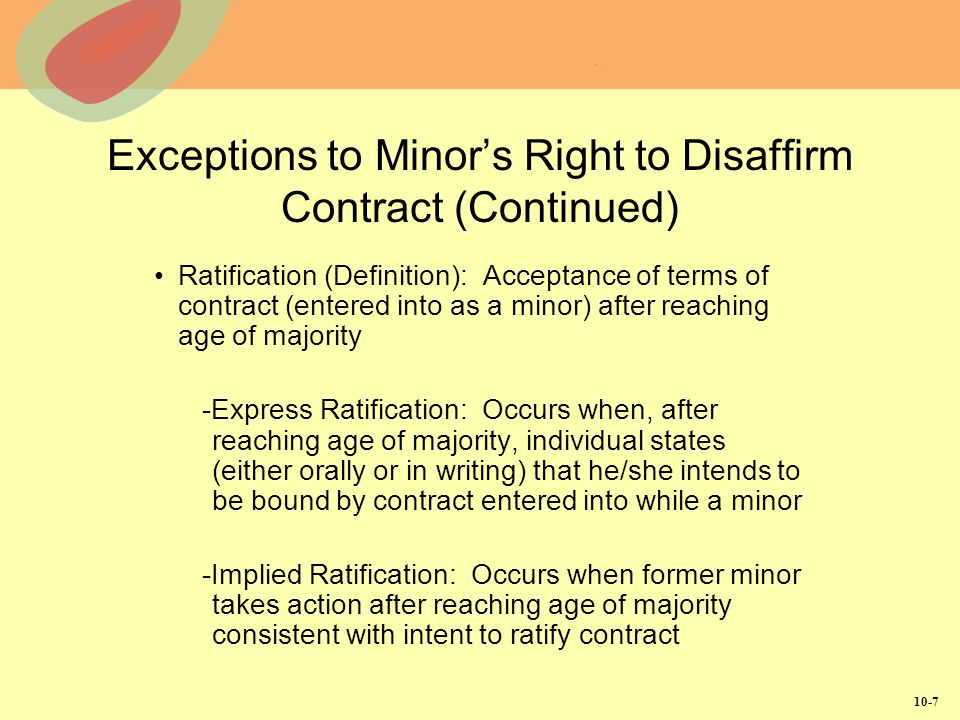 Exceptions to Minor's Right to Disaffirm Contract (Continued)