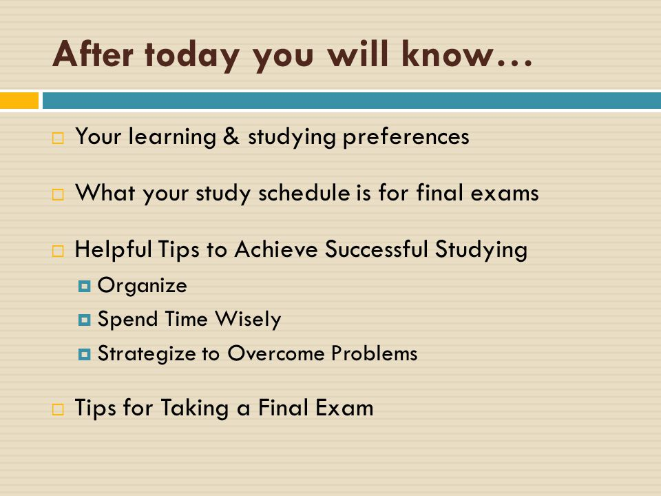 study tips for exams preparation