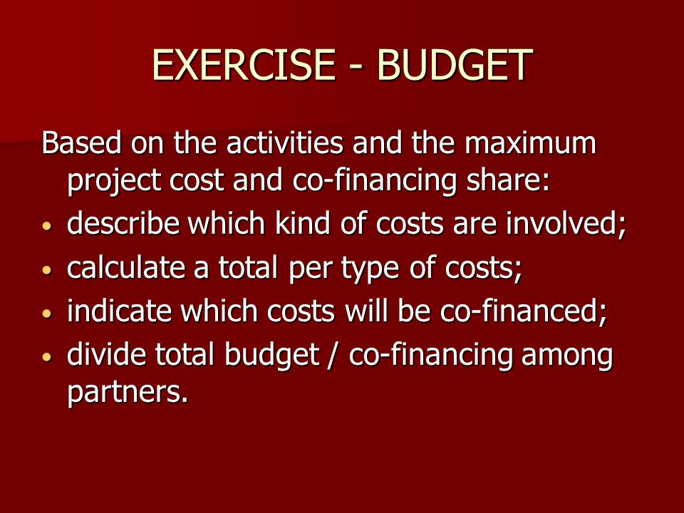 EXERCISE - BUDGET Based on the activities and the maximum project cost and co-financing share: describe which kind of costs are involved;