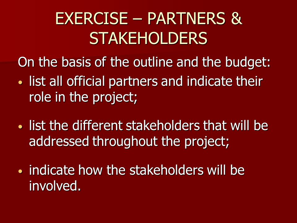 EXERCISE – PARTNERS & STAKEHOLDERS