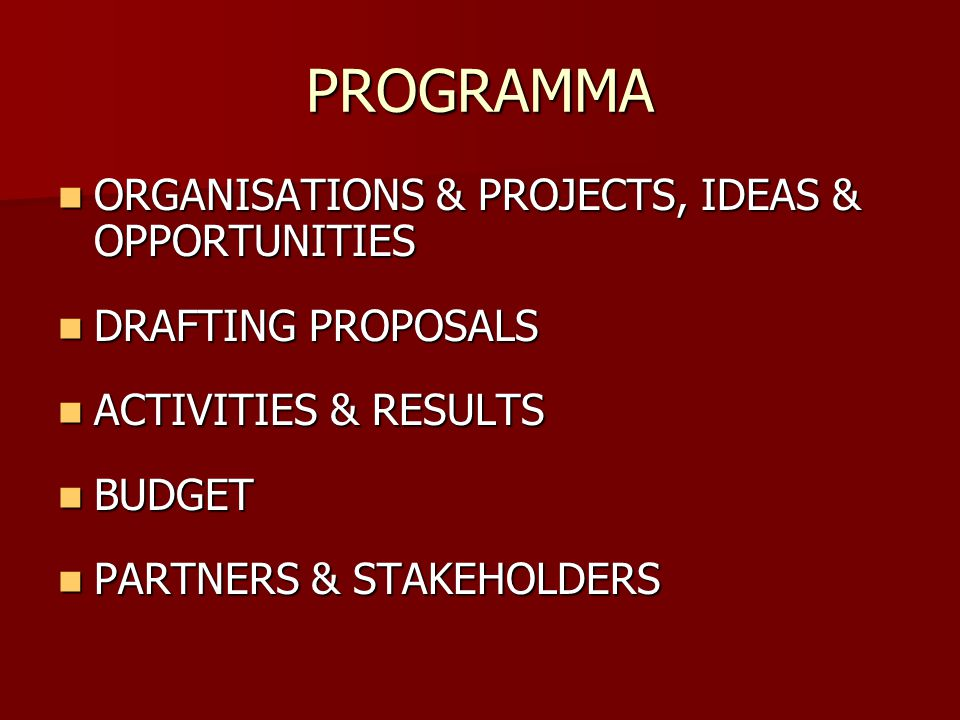PROGRAMMA ORGANISATIONS & PROJECTS, IDEAS & OPPORTUNITIES