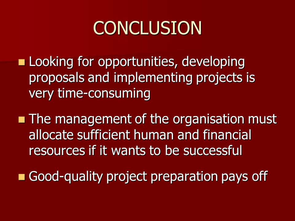 CONCLUSION Looking for opportunities, developing proposals and implementing projects is very time-consuming.
