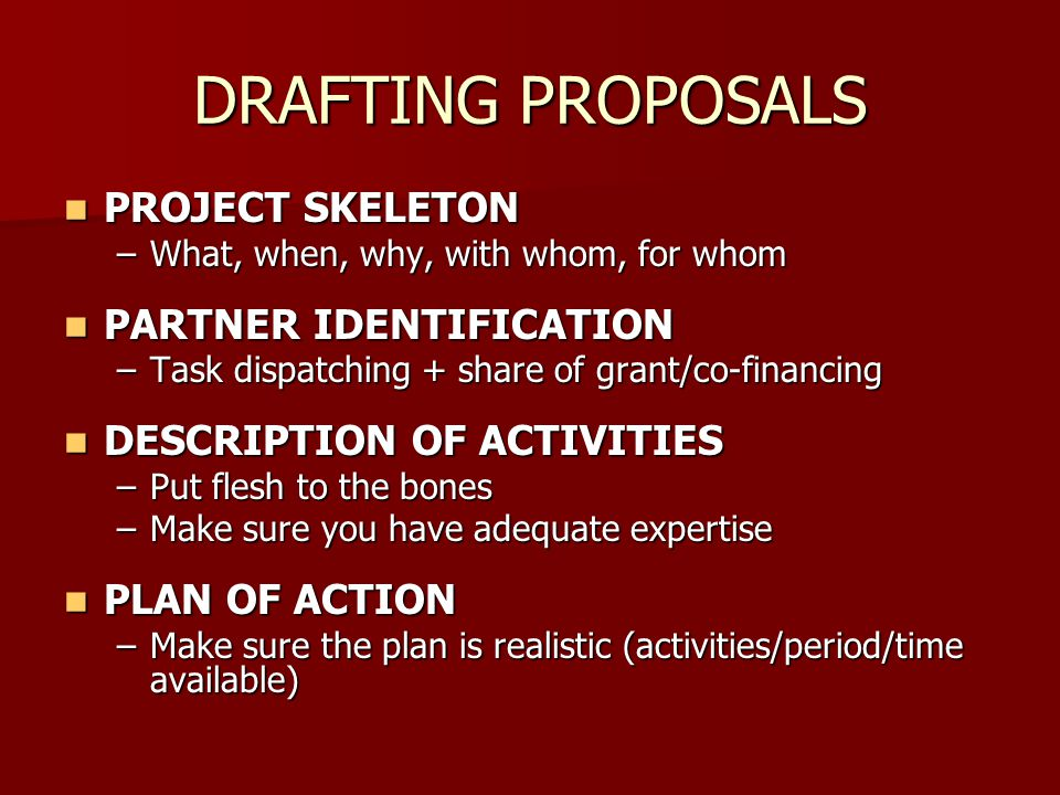 DRAFTING PROPOSALS PROJECT SKELETON PARTNER IDENTIFICATION