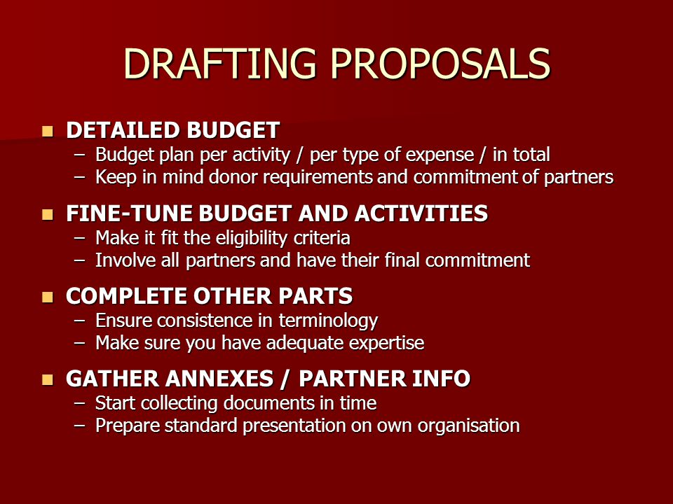 DRAFTING PROPOSALS DETAILED BUDGET FINE-TUNE BUDGET AND ACTIVITIES