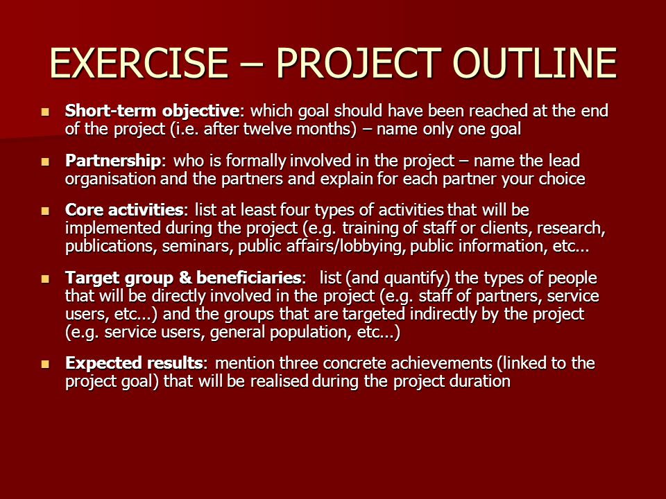 EXERCISE – PROJECT OUTLINE