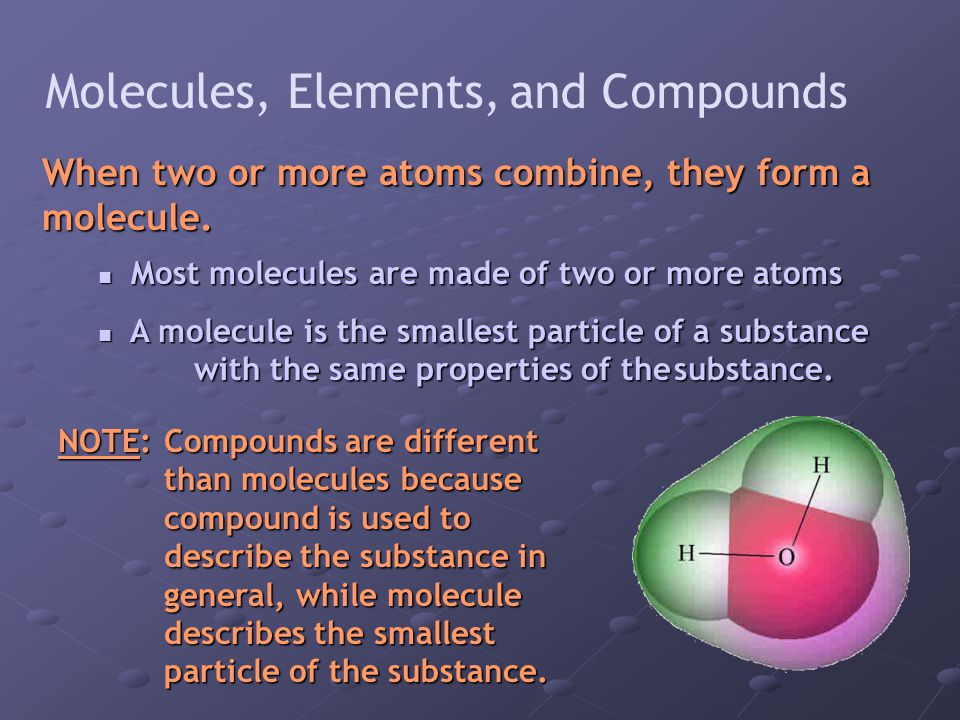 Molecules, Elements, and Compounds