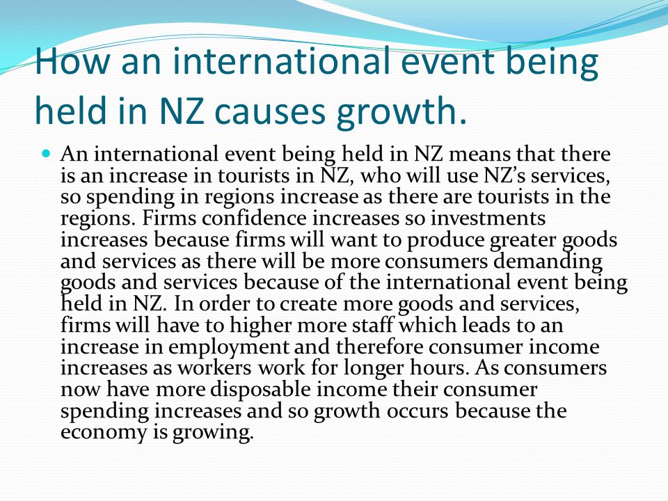 How an international event being held in NZ causes growth.
