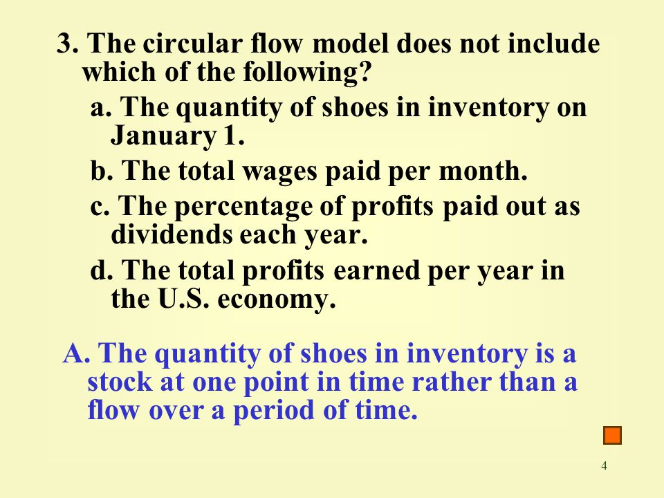 3. The circular flow model does not include which of the following