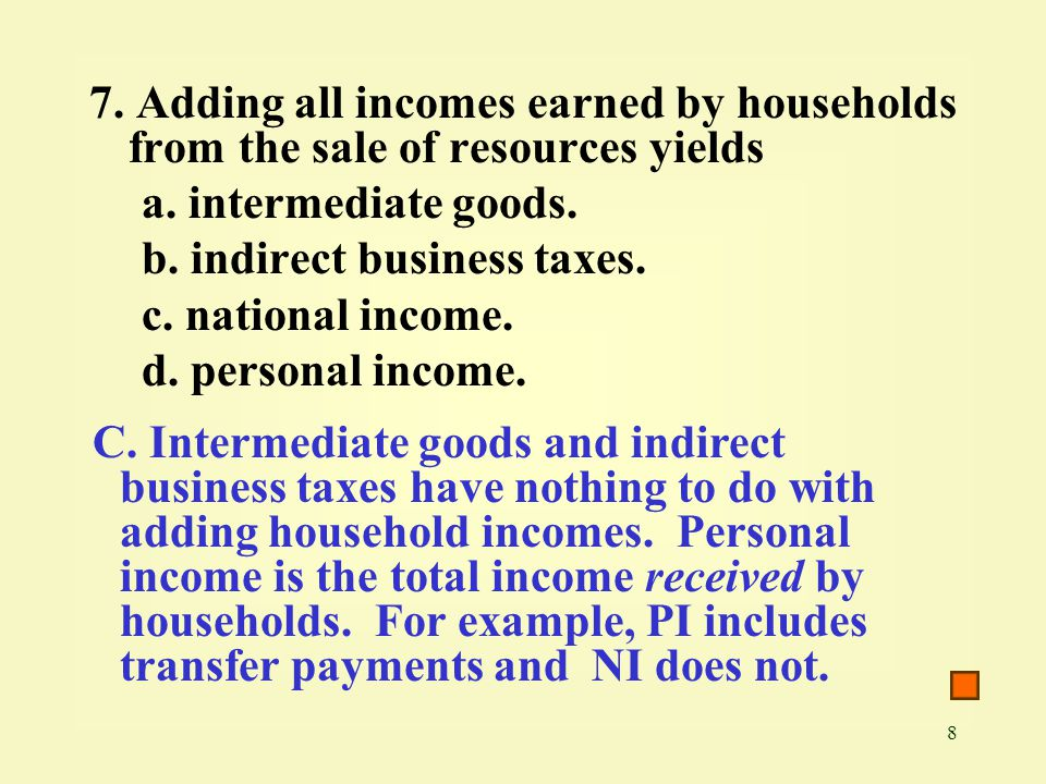 7. Adding all incomes earned by households from the sale of resources yields