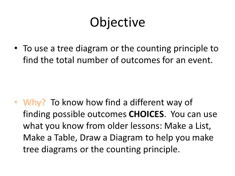 11 5 6th grade math counting methods ppt video online download objective to use a tree diagram or the counting principle to find the total number of ccuart Images