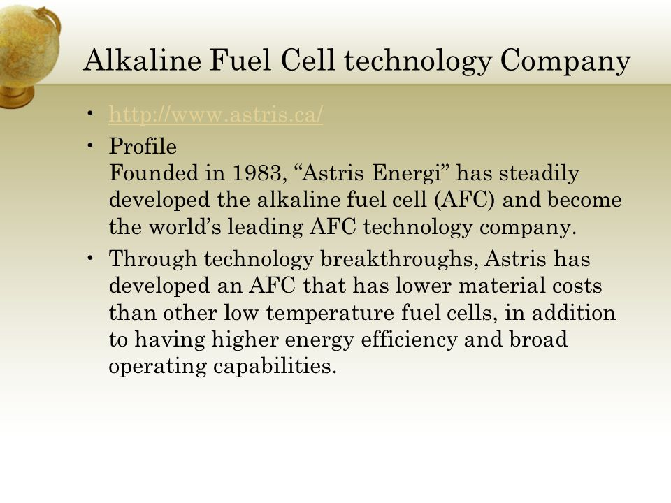 Alkaline Fuel Cell – Applications - ppt video online download