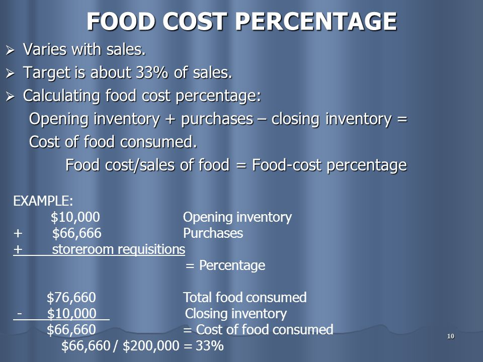 FOOD COST PERCENTAGE Varies with sales. Target is about 33% of sales.