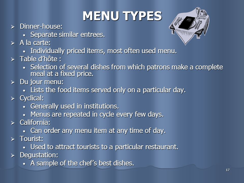 MENU TYPES Dinner-house: Separate similar entrees. A la carte: