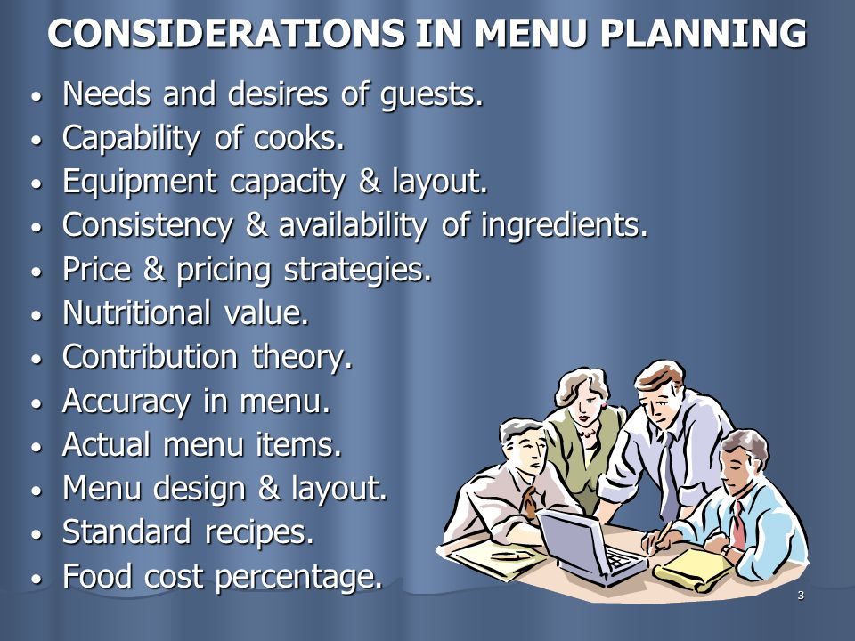 CONSIDERATIONS IN MENU PLANNING