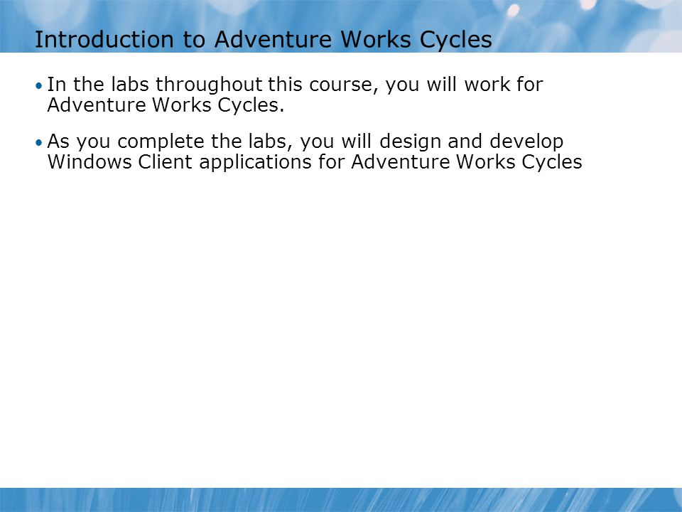 Introduction to Adventure Works Cycles