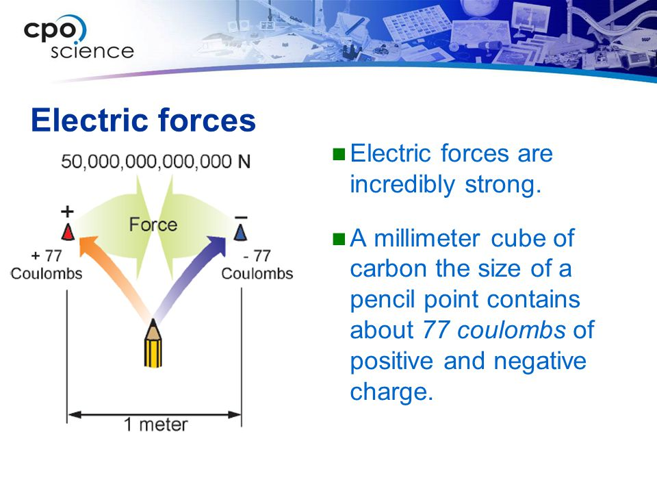 Electric forces Electric forces are incredibly strong.