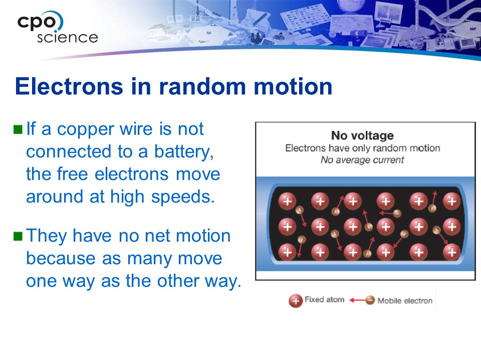 Electrons in random motion