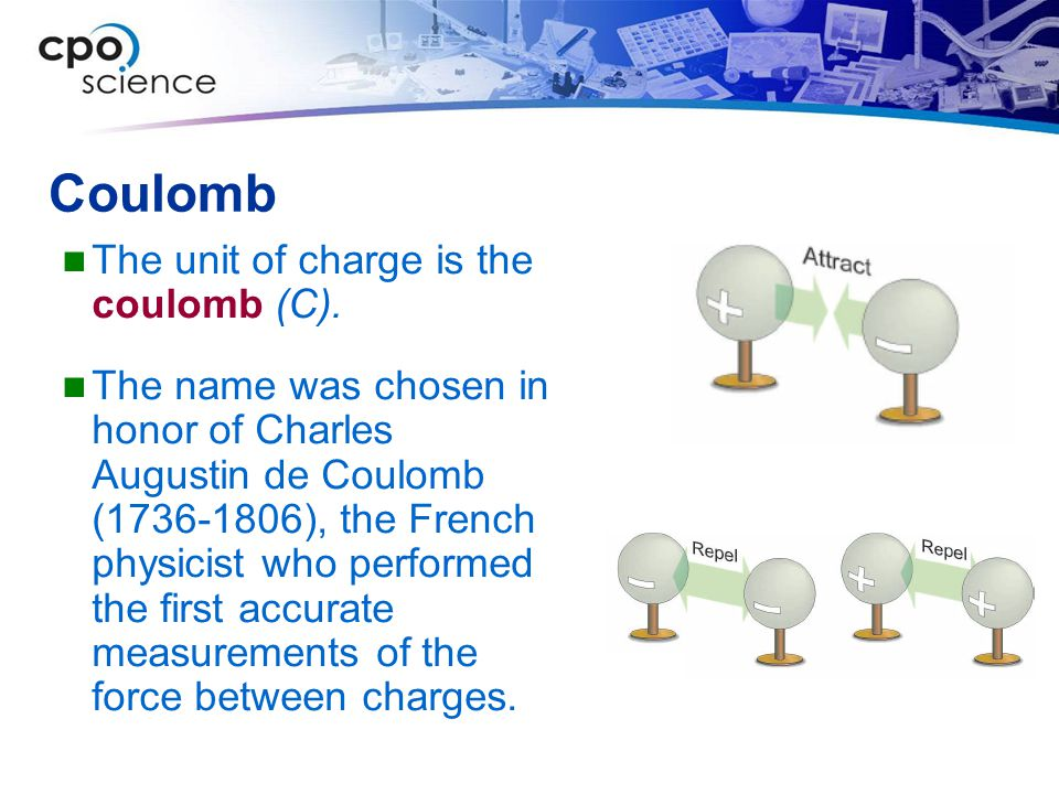 Coulomb The unit of charge is the coulomb (C).