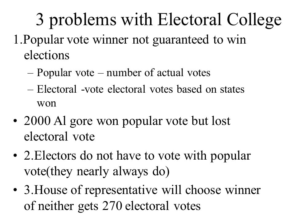 3 problems with Electoral College