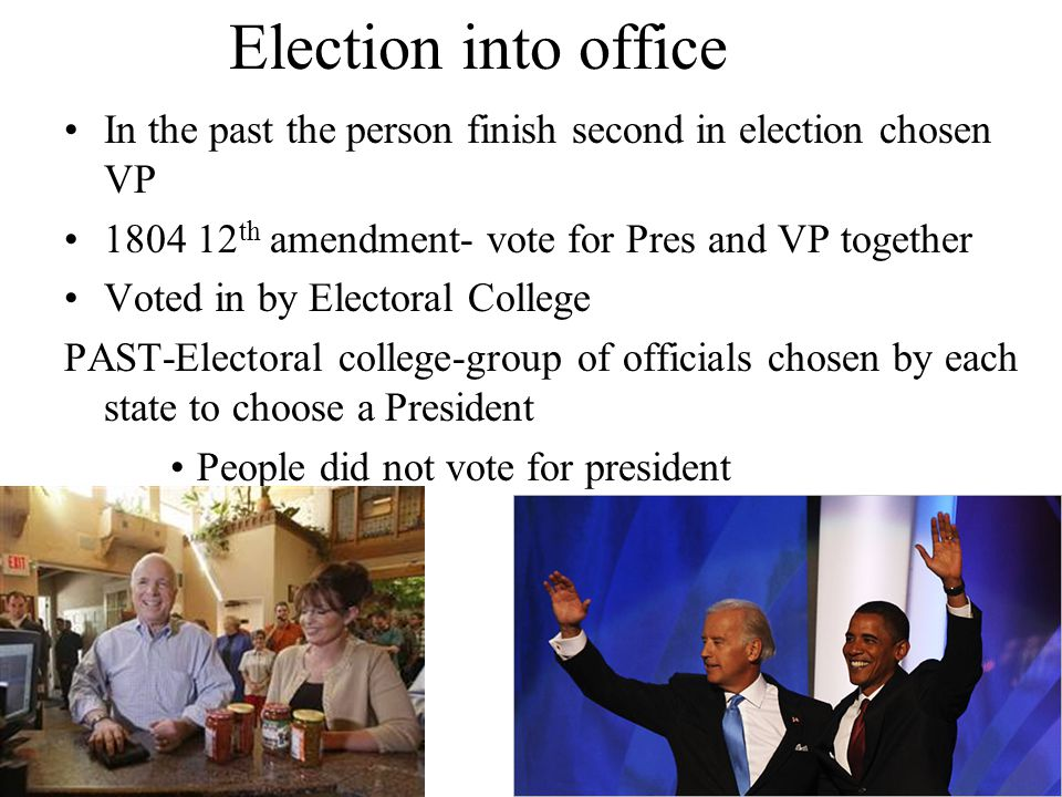 Election into office In the past the person finish second in election chosen VP th amendment- vote for Pres and VP together.