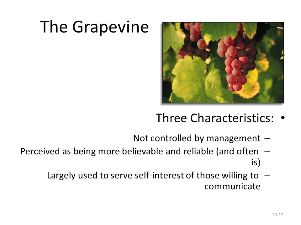 The Grapevine Emerges when: Three Characteristics: