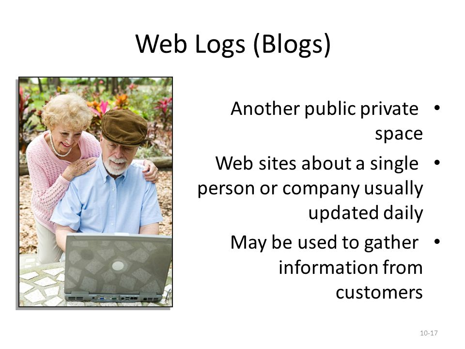 Web Logs (Blogs) Another public private space