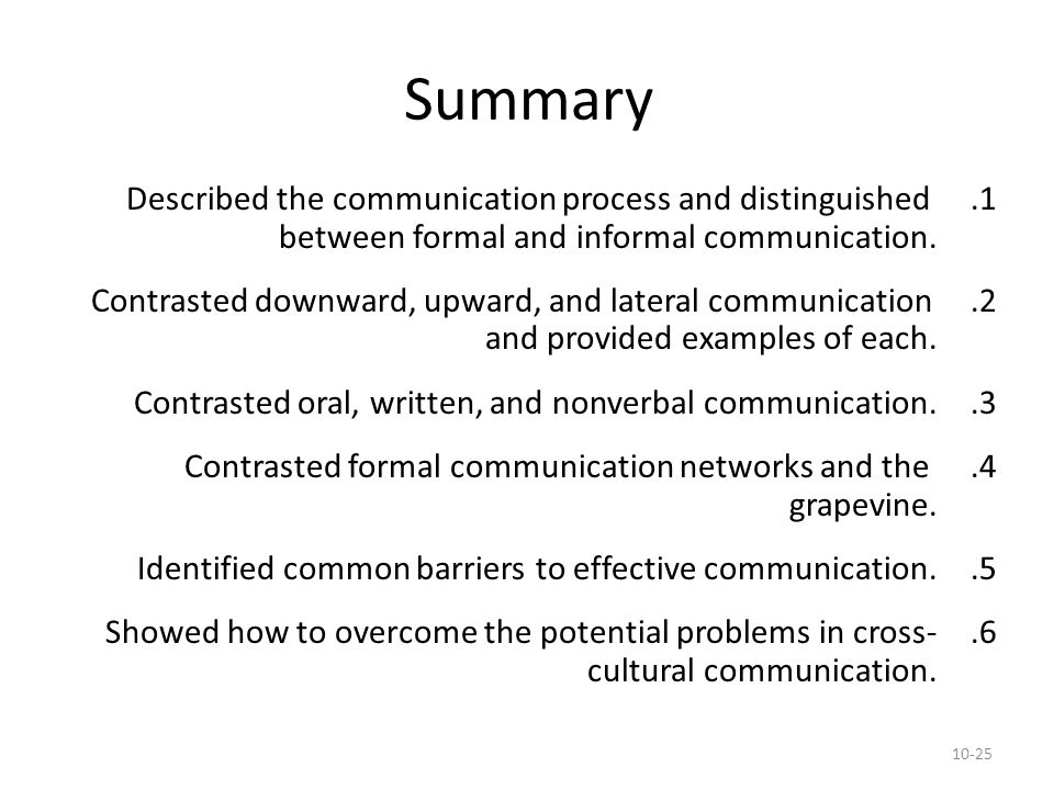 Summary Described the communication process and distinguished between formal and informal communication.