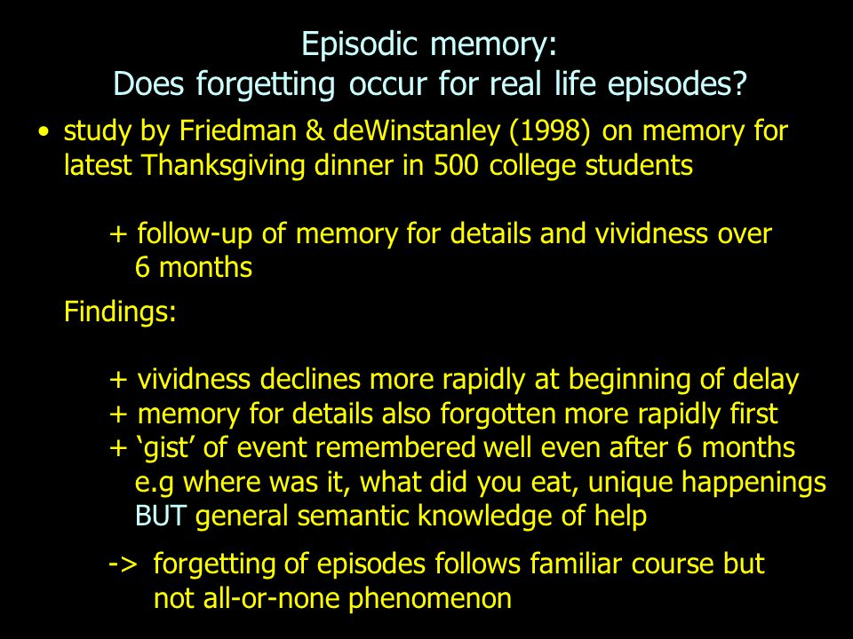 Episodic memory: Does forgetting occur for real life episodes