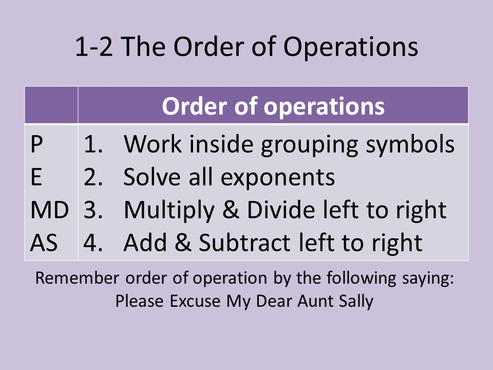 1-2 The Order of Operations