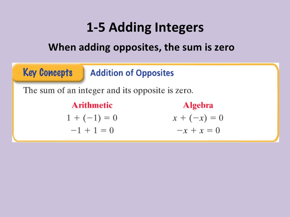 1-5 Adding Integers When adding opposites, the sum is zero