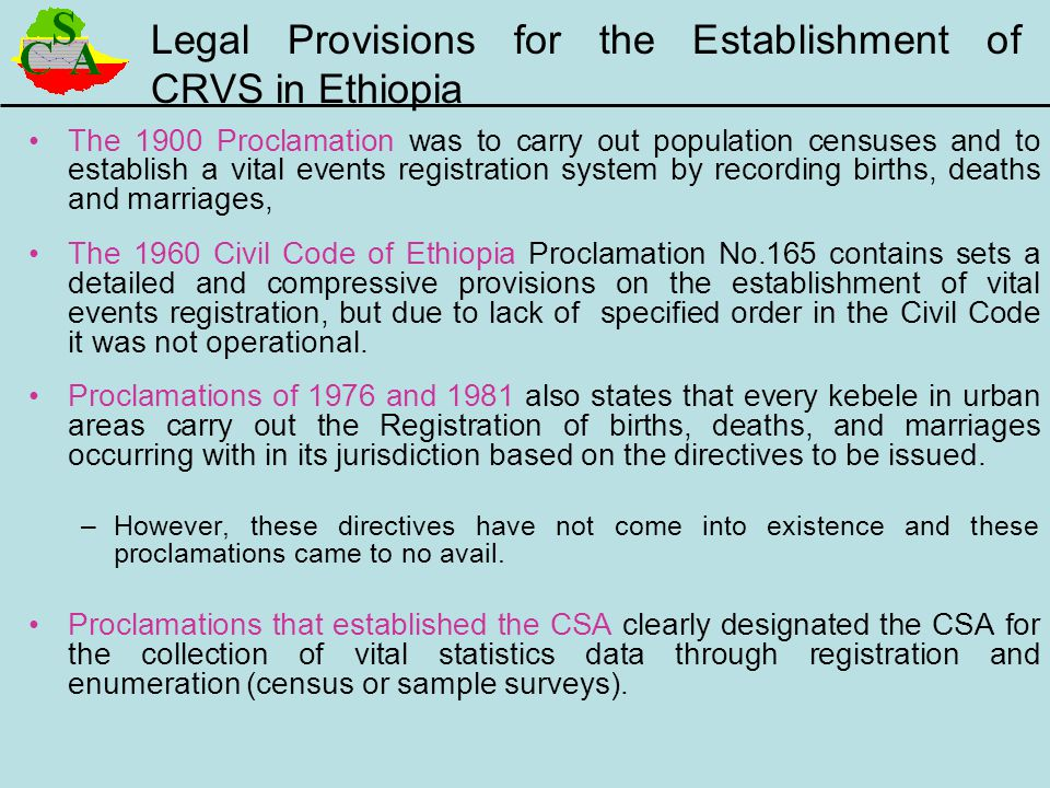 Legal Provisions for the Establishment of CRVS in Ethiopia