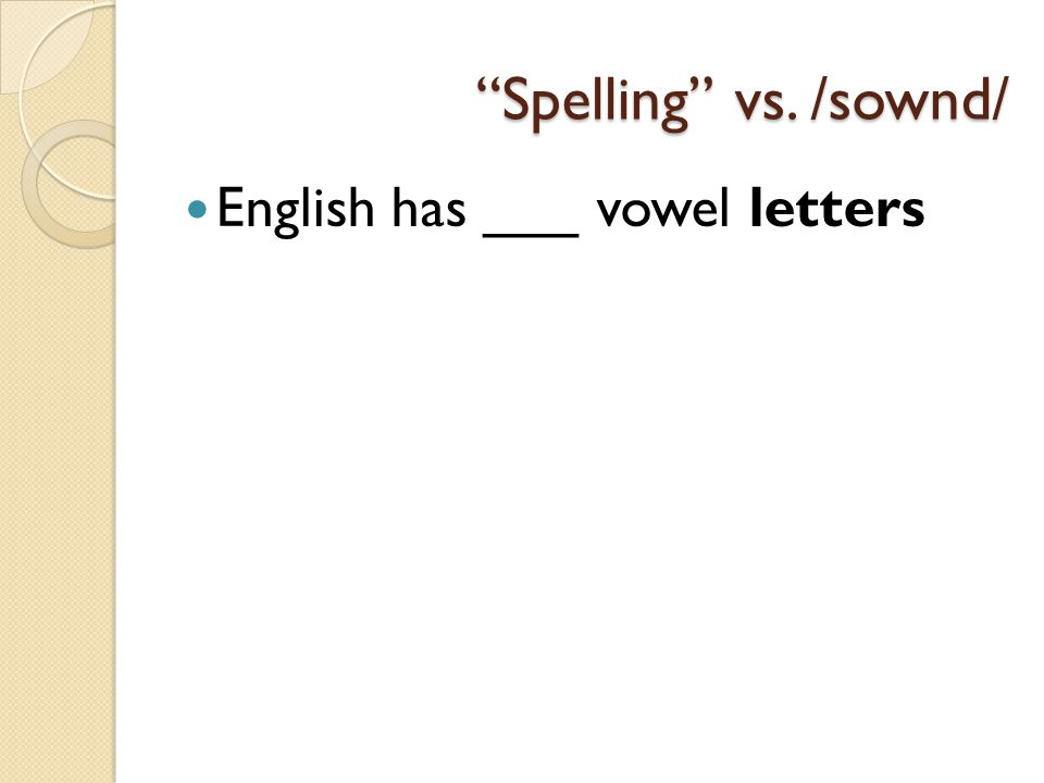 The Vowel Sounds Of English With Focus On Front Vowels Ppt Download