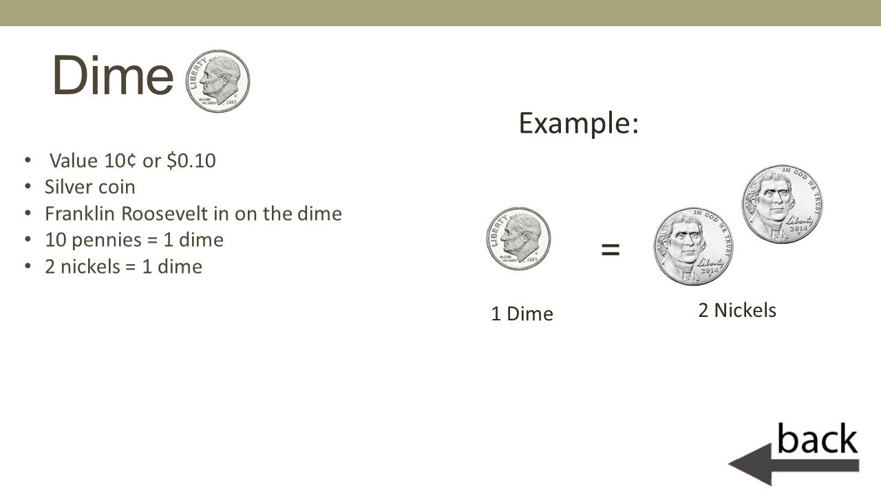 Dime = Example: Value 10¢ or $0.10 Silver coin