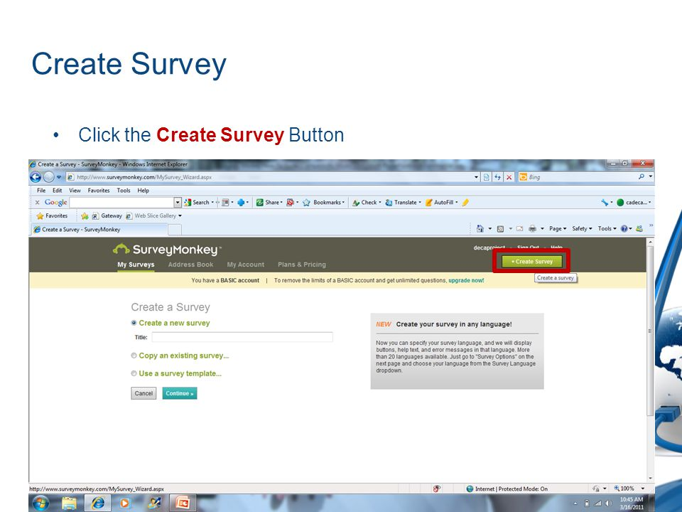 Create Survey Click the Create Survey Button