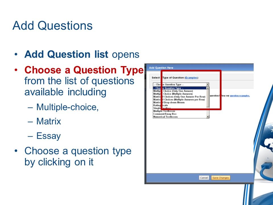 Add Questions Add Question list opens