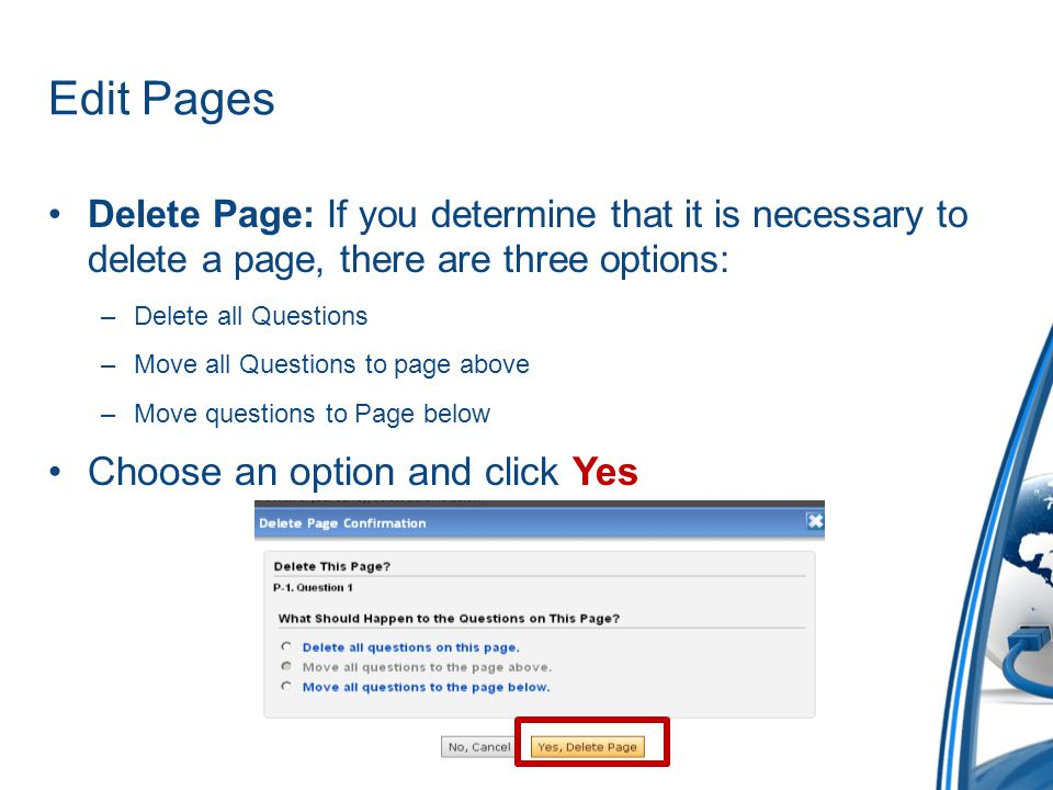 Edit Pages Choose an option and click Yes