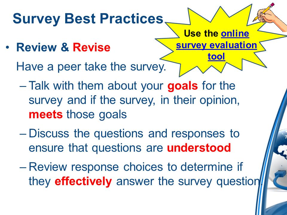 Use the online survey evaluation tool