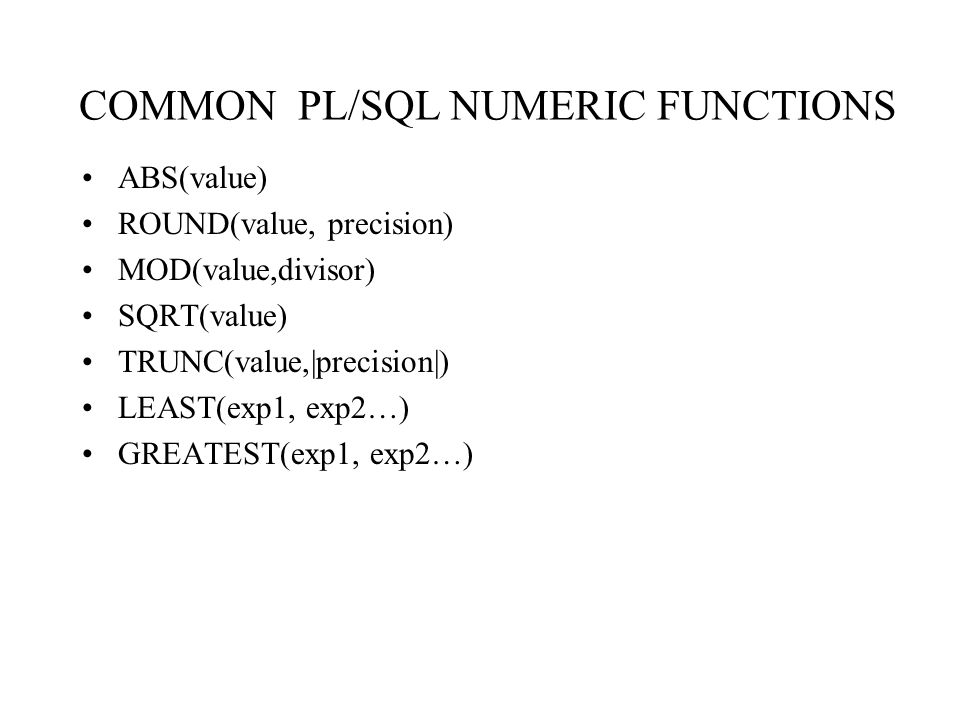COMMON PL/SQL NUMERIC FUNCTIONS